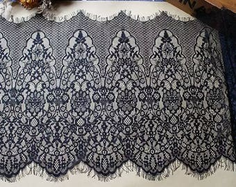1.50 meters * 30cm lace chantily lace black wide Ref. 2603
