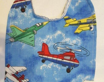 Jets, Planes, Helicopters! Reversible Baby Bib