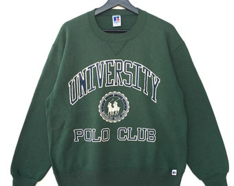 Rare!! UNIVERSITY POLO CLUB Spellout Biglogo Vintage Men Clothing Sweatshirt Pullover Jumper Green Colour Large Size