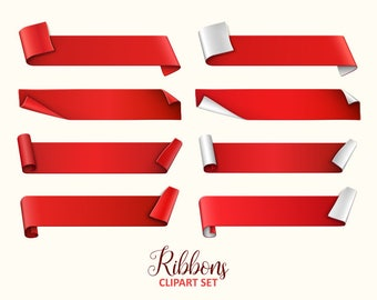 Ribbon clipart. Ribbon banners clip art collection. Vector graphic.