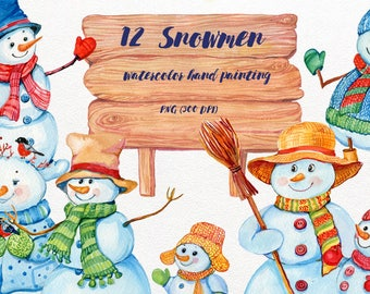 Christmas snowmen, christmas clipart, watercolor handmade painting, holiday clipart