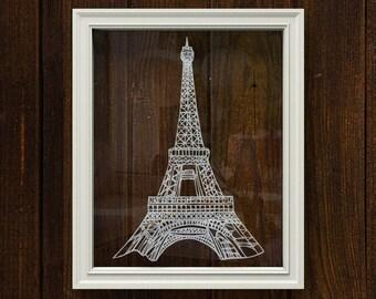 Eiffel Tower paper cutting art home decor - Paris, France original design papercutting wall art