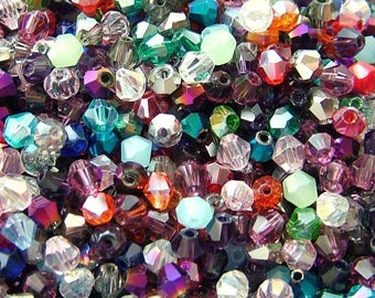 100 swarovski crystal bicone 4 mixed color glass spacer beads x 4 mm