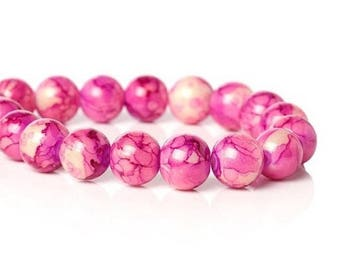 10 round shaped glass beads pink 10 mm
