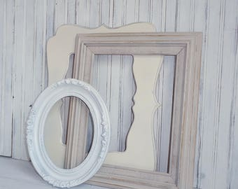 Wedding Picture Frames Painted in Shades of White
