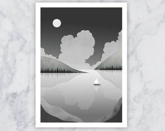 Sailing Boat Moon Stars and Mountains Illustration Black White Grey A4 Print