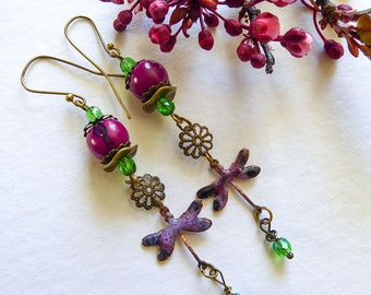 Long earrings, copper enamel, faceted, dragonflies beads seeds ACAI, nature, the season of plums