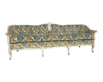 French Provincial Green and Blue Velvet Sofa - Stunning Vintage Floral Couch