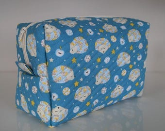 child's toiletry bag in cotton padded, waterproof lining