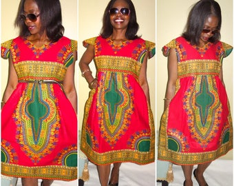 Dashiki/ African Dashiki/ African Dress/ African Clothing/ Boho Dress/ Jupe midi/  Midi Dress/ Robe Wax