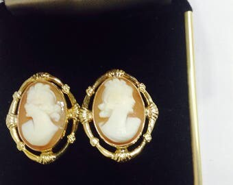 Antique shell cameo Victorian 12k God Filled non pierced screw back earrings