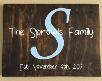 Custom Family Est. Sign - Family Established Sign - Wood Family Established Sign - Family Name Sign - Last Name Sign - Wedding Gift -