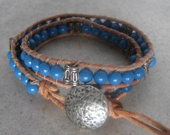Leather Wrap Around Bracelet with Swarovski Pearls and Button closure