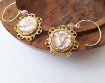 Pink rosebud earrings, vintage glass, 1950s glass, pink tourmaline earrings, drop earrings, vintage brass, pink earrings