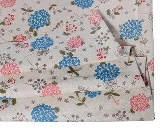 Cotton fabric and linen - hydrangea flowers - 150 cm x 50 cm