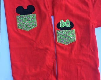 Mickey or Minnie christmas pocket shirts disney pocket tshirt candy can pocket tee with mickey head applique or minnie head applique