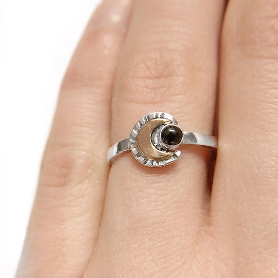 Double Moon Ring / Silver Moon Ring / Moon Ring / Hematite Moon Ring / Hematite Ring / Gold Moon Ring / Silver Promise Ring / Womans Ring