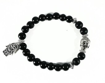 Buddha Black~Handmade Bracelet~Black Onyx Bracelet~Mala Bracelet~Buddha Bead Bracelet~Hamsa Hand Charm~Onyx Beaded Bracelet~Spiritual Gift
