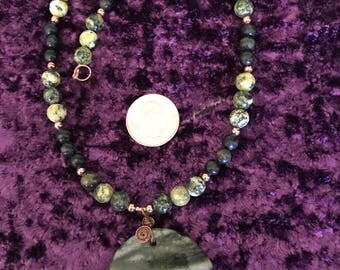 Jade and Serpentine Copper Necklace