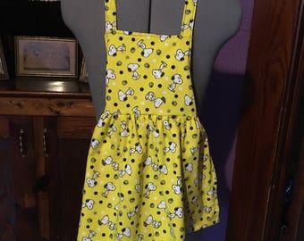 Bright Yellow Snoopy Girls Apron size 3-4