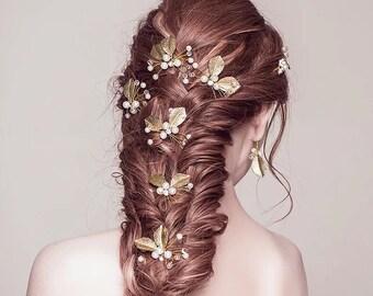 Sale! Wedding hair pins, Gold hair pins, Bridal hair pins, Pearl gold Leaves Hair Pins