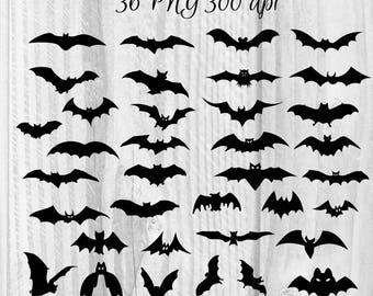 36 Bats clipart Halloween Day clipart Digital bats elements Halloween graphics Animal's clipart Horror night clipart Silhouettes clipart
