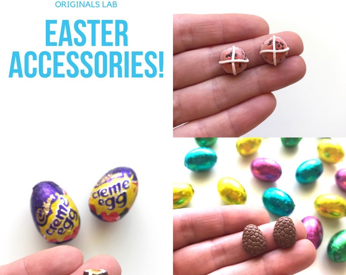 Easter Earrings - Hot Cross Bun and Chocolate Egg Earrings with Stainless Steel Posts. Scented Miniature treats you can wear!