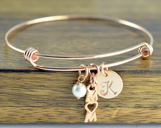 Personalized Initial Bracelet, New Mom, Personalized Rose Gold Bracelet, Gifts for Mom, Mom Birthday Gifts, Mom Gifts, Mom Bracelet Bangle