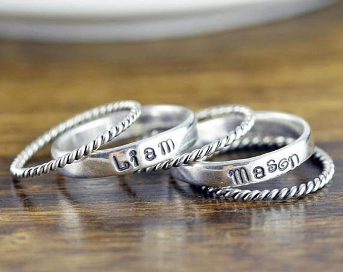 10% off SALE Rings with Names Sterling Silver, Stacking Rings, Hand Stamped Ring, Personalized Ring, Mothers Ring, Mothers Jewelry, Silver R
