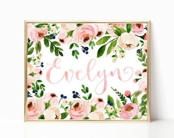 Personalized Baby Girl Gift. Blush Nursery. Gift for Newborn. Floral Nursery Decor. Gift for Baby. Baby Girl. Floral Nursery Wall Art.