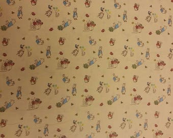 Peter Rabbit and Lily Bobtail Beatrix Potter Fabric 100% Cotton Material By Metre Curtains Patchwork Cushions Bags Bunting