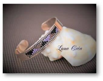 Bangle Bracelet brass gilded pink adjustable - Miyuki black Bronze and purple - pink adjustable Bangle Bracelet - cuff Miyuki bracelet