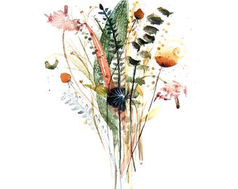 Original Watercolor painting on Sale - 50 % Off field flowers bouquet 50x35 cm Wall art Home decor