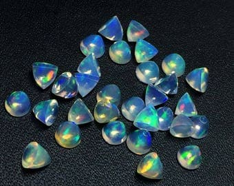 30% Off Rare AAA+ Natural Ethiopian Opal Bullets Cabochon Gemstone 4x4x4mm 4 PCs Lot Genuine Opal BT09