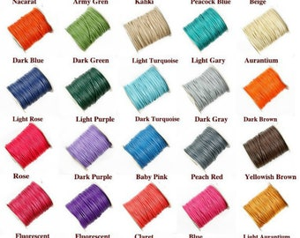 100yards (than 35colors) 1.5mm round assorted colors korea wax cotton cords