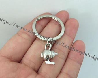 teapot keychain, teapot gifts key ring