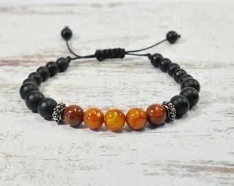 Urban Men's Agate Orange & Onyx Pull Tie Single Bracelet. Boho Jewelry. Bohemian Jewelry. Ideas for him. Gift for him.