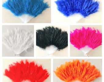 Antique Marabou Feather Hand Fan For Costume, Halloween, Party, Dance in 7 colors