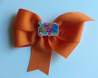Care bears hair bow, orange hair bow, cartoon hair bow, sunshine bear, back to school hair bow, school bow, everyday hair bow