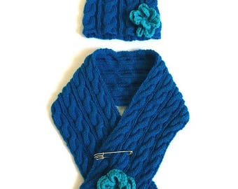 SALE Handmade Knitted Hat and Scarf Set