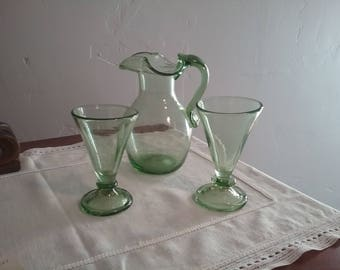 Hand Blown Pitcher With Glasses.