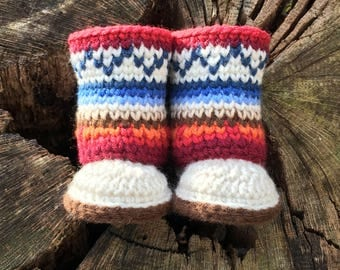 Mukluk Baby Booties Crochet Pattern/ Baby Boots/ Baby Booties Crocheted/ Baby Booties Crocheted Pattern/ Mukluks/ Muk luk Boots/ Baby Shoes