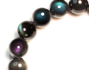 138.15CT 100% Natural Mexican Rainbow Obsidian Bead Bracelet BROb215