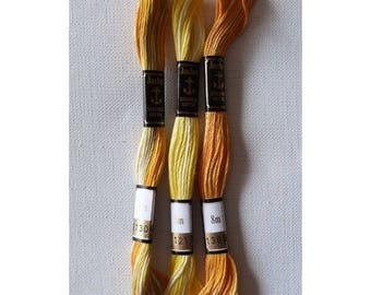 3 skeins of embroidery ANCHOR yellow ORANGE variation