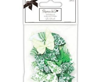 Set of 20 blackness fabric 2.5 X 2.3 cm green tones