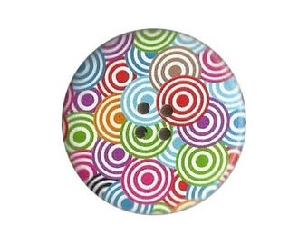 2 round buttons, sewing, scrapbooking, MULTICOLOR circle 4 cm
