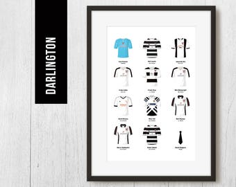PERSONALISED Darlington Team Print, Football Poster, Football Gift, FREE UK Delivery