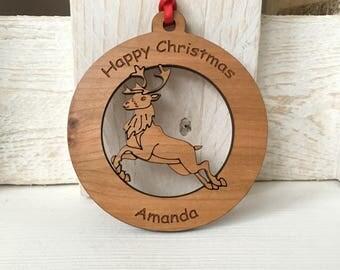 Personalised reindeer christmas bauble, personalised christmas decoration, reindeer decoration, christmas tree decoration, wooden bauble