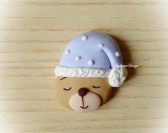 Sleepy bear polymer clay favor baptism baby shower first birthday