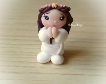 Girl communion favor polymer clay favor baptism communion favors cake topper communion girl